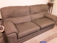Three piece living room suite. Including recliner chair.