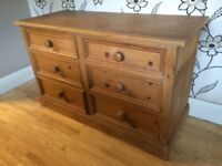 THICK CHUNKY PINE CHEST OF 6 DRAWERS