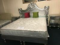 Super king bed mattress and bedside tables