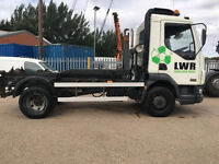 2005 skip tipper lorry lez daf LF 45 hook loader roll on roll off 18 Yard Bin