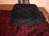 tufted square black velvet ottoman