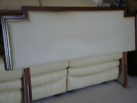STAG Headboard. For Double Bed. Wooden surround to padded centre