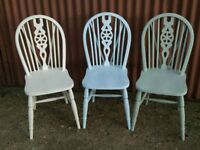 Shabby chic style, chalk paint, wooden dining chairs 6 available
