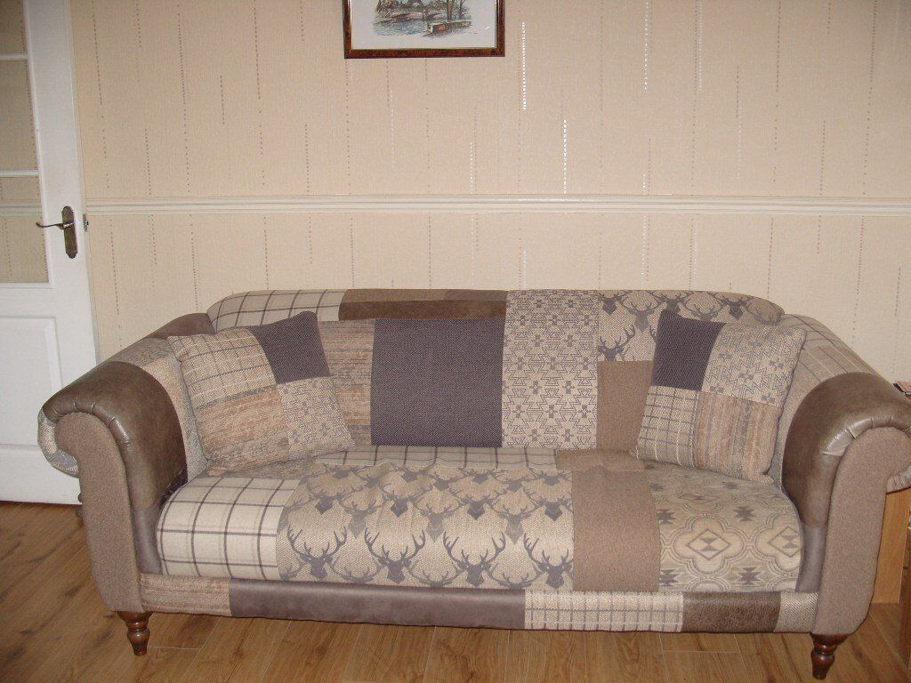 Dfs Country Patch Maxi Sofa With Cushions Brown Amp Beige