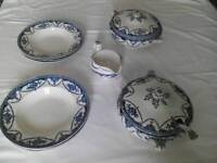 2 Vintage blue & white serving dishes with ladle, 6 soup dishes & a gravy boat