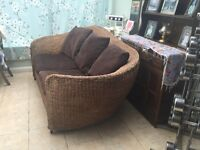 Absolutely stunning designer Wicker Settee feather cushions