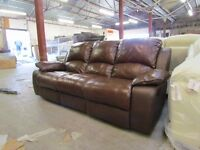 Outlet Brown Real Leather Reclining sofa, seats settee suite DELIVERY AVAILABLE