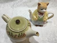 2 China Tea Pots - perfect for decorative display or use.
