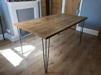 Reclaimed Wood Dining Table with Hair Pin Legs
