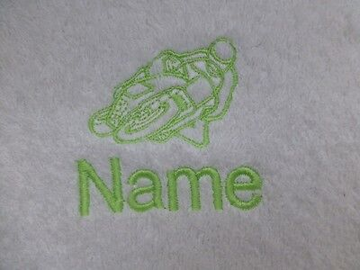 - MOTORBIKE Embroidered on Towels, Hooded Towel, Bath Robes with Personalised name