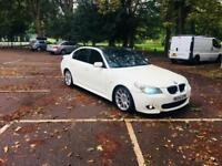 BMW 525D M SPORTS WHITE-DIESEL-AUTOMATIC-2005-BIG SAT NAV SCREEN-HEATED LEATHER-CLEAN IN OUT-HISTORY