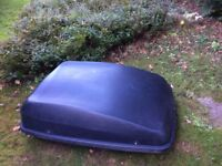 car roof box and rails, approximately 130 cm by 90 cm wide and 40 cm deep at the deepest part