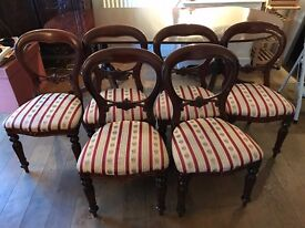 Six Victorian spoonback chairs, upholstered, red and gold