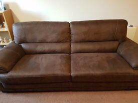 Brown leather 3 seater sofa,