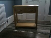 Solid Oak dining table ,& 4 chairs, television stand nest of 3 coffee tables, hall console table.