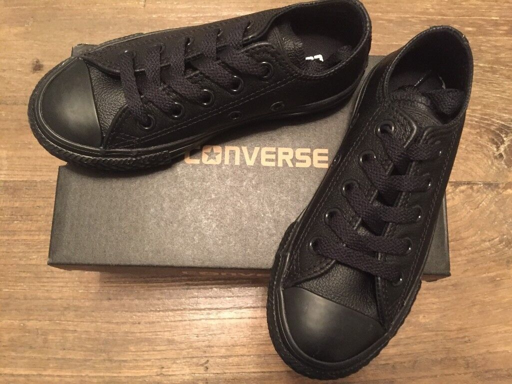 2a201b73d5fa KIDS CONVERSE ALL STAR OX LEATHER MONO 343913C CT PUMPS BLACK LEATHER UK10  NEW BOXED