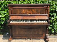 Edgar Horne Upright Piano Brown with Beautiful Patterns on Front Good Condition (Delivery Possible)