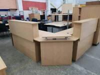 Oak effect reception desk delivery available