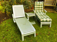Garden loungers x 2 with cushions and side table. Sage green