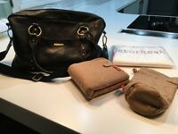 Storksak Elizabeth Changing Bag in Black Leather