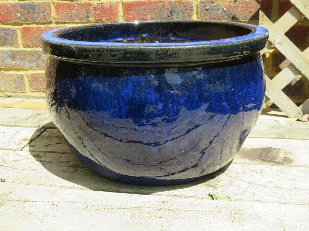 Large Blue Glazed Ceramic Garden Pot | in Brighton, East Sussex | Gumtree