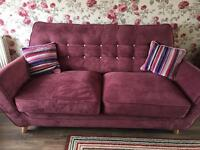 House of freaser maroon sofa