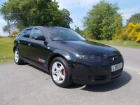 2005 55 AUDI A3 1.9 TDI SPORTBACK METALLIC BLACK WITH TWO TONE CHARCOAL INTERIOR
