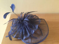 Navy headpiece/fascinator, hessian material with feather detail