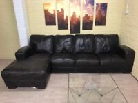 Beautiful Black/Grey Leather Corner Sofa