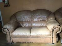 Three piece, Retro, peach leather, sofa suite