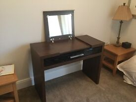 Dressing table . Next dark wood style and black gloss drawer