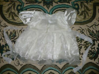 Christening/ Party cream dress for girl 3-6mths/ 3-6 mths. Very good clean condition.