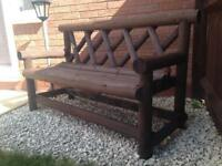 HEAVY Solid Wooden Garden Bench 2 Seater (Hand-made) Rustic **IMMACULATE**
