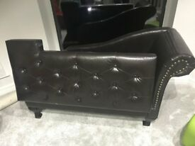 Chesterfield Chaise Leather Sofa Black