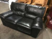 As new black leather 2 seater sofa