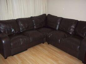 Dark Brown 5 Seat Corner 'L' Settee/Sofa