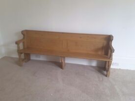 Large antique pine church pew, bench. Vintage, just over 7 ft long