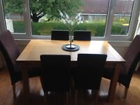 Extendable dining table with 6 chairs 56X36 and 86 x 36