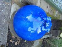 A Blue Large Ceramic Garden Decroative Ball With Frog.(Homebase)