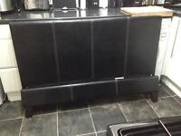Black leather double bed (complete)
