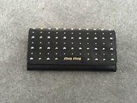 Miu Miu Black Leather Studded Wallet