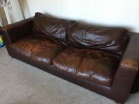 Genuine Leather, Large 3 Seat Sofa, Dark Brown