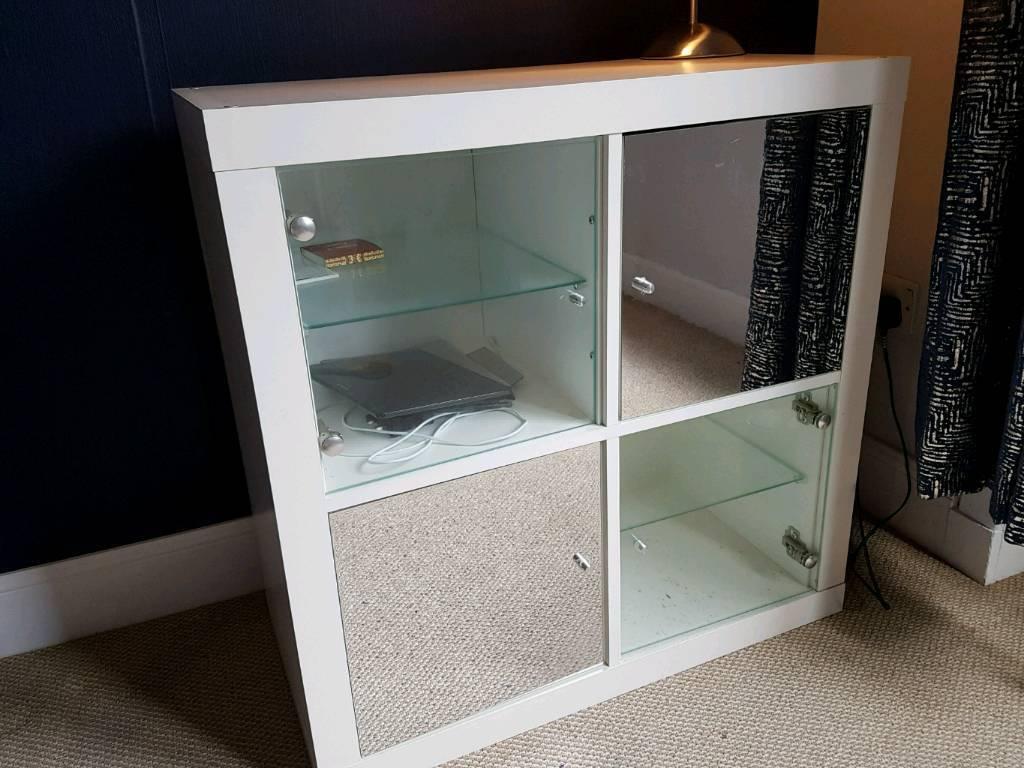 Ikea Kallax Unit With 2 Glass Doors And Mirror Internal Shelves