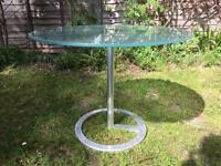 Two frosted glass tables with aluminium bases