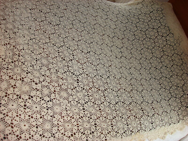 """Antique HAND CROCHETED TABLECLOTH Cream/54""""x80"""""""