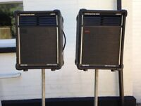 2 Watkins Songbird 300 Full range speakers and stands.