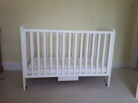 Cot-white wooden 'Anna ' cot. John Lewis and mattress