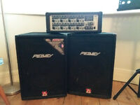 "FOR SALE. 15"" Peavey speakers, 2 stands and 1 Hartke bass amp and Hartke transporter speaker"
