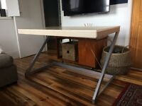 Large desk. Light colour wood effect top, metal frame. Good condition