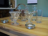 """Two and a Spare"" 3 wine glasses, 3 tall drinking glasses, 3 Sundae glasses and two candles holders"